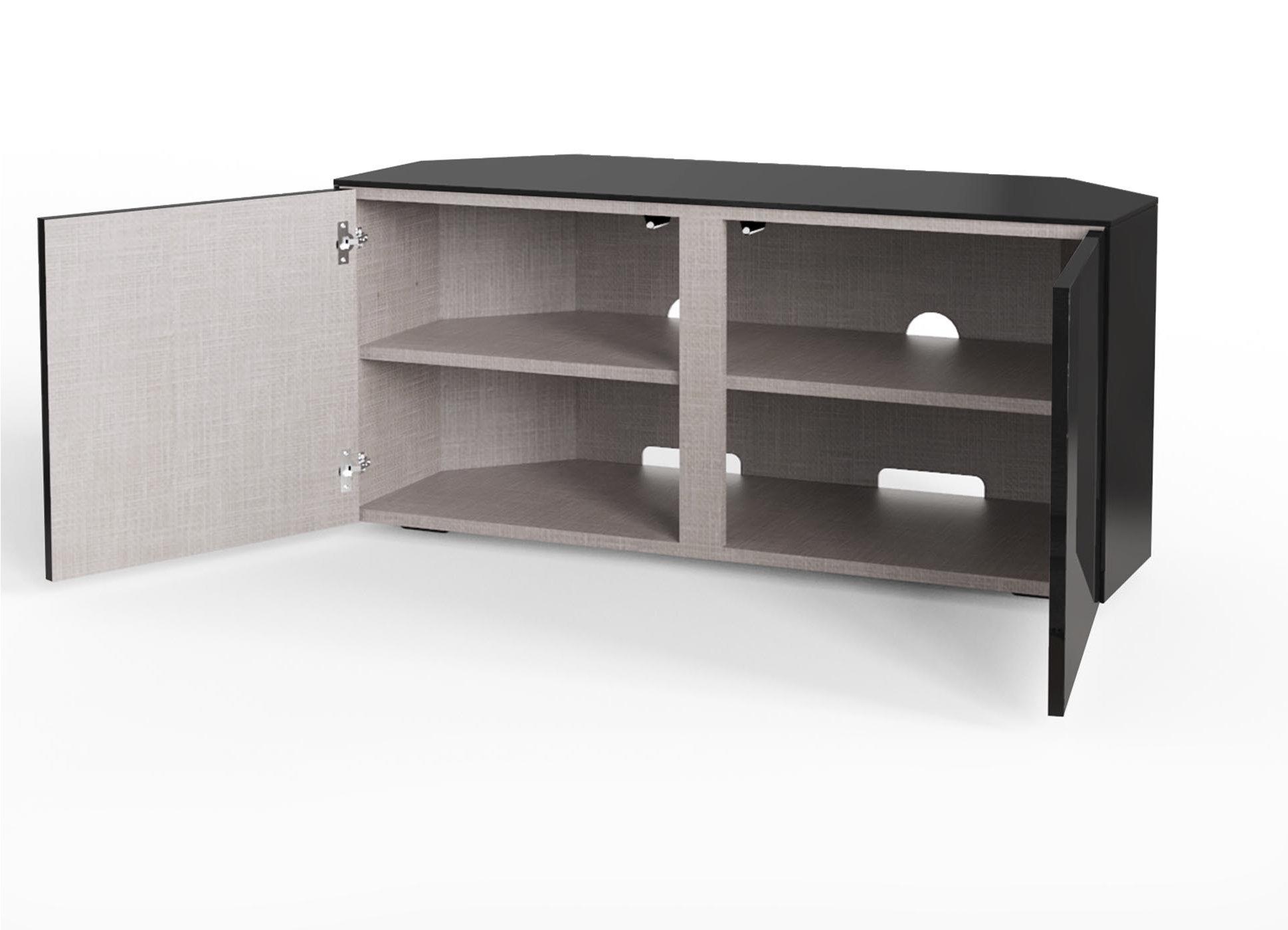 Frank Olsen Intel1100led Corner Blk Gloss Black Corner Tv Cabinet For Tvs Up To 50 Inch With Led Lighting And Alexa Compatibility